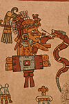 MEXICO. Manuscript called the Vaticano codex. Mexico City, National library. Aztec culture. Tonacatecutli, the Lord of Life Food Supplies with the Serpent.