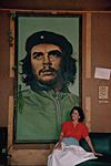 CUBA. In Baracoa city, province of Guantanamo, this lady has decorated her lounge with a gigantic portrait of Che Guevara.