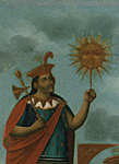 PERU. Manco Capac, founder of the Inca dynasty, Son of the Sun, holding Inti, the Sun god in his left hand.
