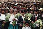 PERU, Andes, Cusco province in the village of Chinchero a Quechua Indian wedding.