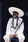 BRAZIL, Bahia State : in Salvador de Bahia Pai do Santo or Candomble priest dressed in white and wearing the collars corresponding to the rules of the Afro Brazilian religion called Candomble.