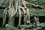 CAMBODIA, Angkor : Cambodian family visiting the Buddhist temple of Ta Phrom where kapok tree roots strangle the stones.