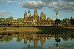 CAMBODIA, Angkor : Hindu temple of Angkor Vat at sunset at the end of the rainy season.