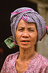 CAMBODIA : Cambodian woman wearing the traditional cotton scarf called krama.