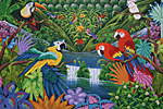 DOMINICAN REPUBLIC naïve painting by artist François J Amiel representing two parrots in the jungle. On sale in Manati Park.