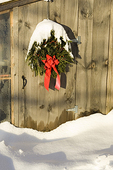 Christmas Wreath on an Old Shed Door