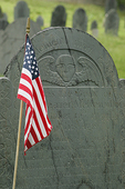 Old Gravestone and American Flag