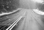 Black and White of a Snowy Road