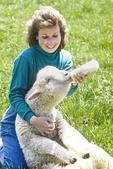Woman Bottle Feeding Lamb