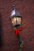 Gas Lamp Decorated for the Holidays