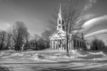 Black and White of the Unitarian Church on Petersham, Ma Town Common