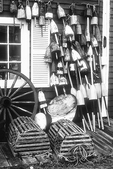 Lobster Traps and Lobster Buoys in Black and White