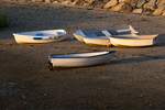 Several Rowboats on the Beach at Low Tide