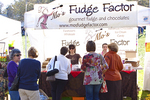 Fair goers buying tasty fudge