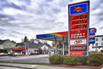 Sunoco gas station sign on Highland Street in Worcester, MA