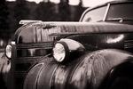 Old rusted 1940 Pontiac car found on Shrewsbury Street in Worcester, MA