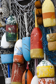 Colorful lobster buoys hang on a fishing shack in Rockport, Massachusetts