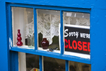 Closed sign in a store window in Rockport, Massachusetts
