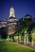 The Custom House Tower as seen at night from Columbus Park.