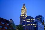 Boston's Custom House Tower as seen at night.
