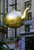 The old famous teapot hangs above Starbucks in the Government Center.