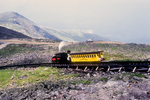 The cog railway begins the descent down Mt Washington