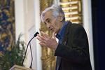 Howard Zinn gestures for emphasis during a talk in Worcester, MA