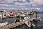 Marina in Jamestown, RI. Jamestown Bridge is in the background