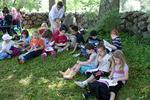 Children studying outside