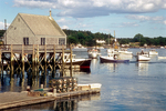 Boats moored in Cundy's Harbor, Maine