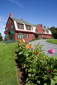 Flower gardens line the driveway leading to the FDR cottage on Campobello Island