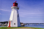 Mulholland Lighthouse on Campobello Island, New Brunswick, Canada with Lubec Harbor in the background