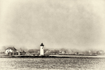Portsmouth Harbor Lighthouse in black and white