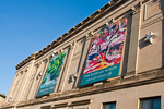 Banners on the front of the Worcester Art Museum