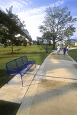 People walking on a sidewalk in the Tennessee River Park in Chattanooga, TN