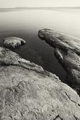 Rocks on the shoreline of Lake Champlain in Vermont