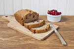Cranberry bread sliced and ready to serve
