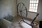 Spinning wheel in the house at Coggeshall Farm in RI