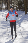 Woman cross country skiing in Massachusetts