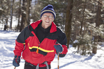 Man having a good time cross country skiing