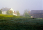 Farm house and barn on a foggy morning