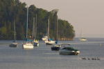 Boats at moorings on Lake Champlain in Burlington, VT