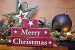 Merry Christmas sign and ornaments