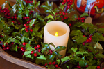 Candle decorated with holly at Christmas