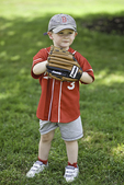 Young boy ready to play ball