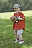 Three year old in his baseball uniform