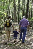 Little boy walking in the woods with his mother and grandfather