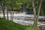 View of the Ashuelot River waterfall in Ashuelot,NH