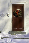 Door of the Phillipston Public Library with a Christmas wreath