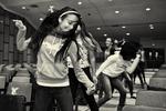 High school girl dancing